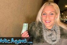 Blond čajka sexuje za rýchle peniaze s public agentom